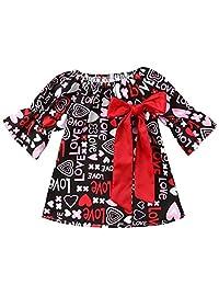 7e0fb565d3e SUPEYA Baby Girls Valentine Heart Love Tutu Dress Flare Sleeve Princess  Ruffled Dress