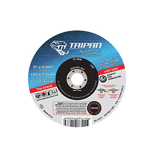 6 OD Depressed Taipan Abrasives TP-6016  Platinum Razor Cutting Disc 7//8 Arbor 0.062 Thick AS60-T-Inox Free Cut Grade 10200 RPM 6 OD 0.062 Thick 7//8 Arbor