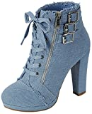 Forever Link Women's Round Toe Heel Bootie,Light Blue Denim,7.5