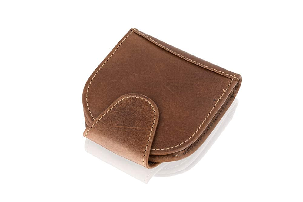 Collapsable Leather Easy Carry Coin Purse Wallet 3.5 Stud Fasten