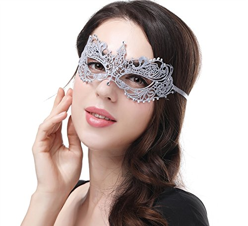 JeVenis Luxury Sexy Lace Eyemask for Halloween Masquerade Party Costume Masquerade Mask for Women (Diamond Silver)]()
