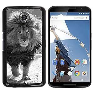 YOYOYO Smartphone Protección Defender Duro Negro Funda Imagen Diseño Carcasa Tapa Case Skin Cover Para Motorola NEXUS 6 X Moto X Pro - blanco león macho negro melena poderosa