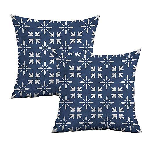 Khaki home Indigo Square Zippered Pillowcase Modern Flower Petals Square Pillowcase Protector Cushion Cases Pillowcases for Sofa Bedroom Car W 24
