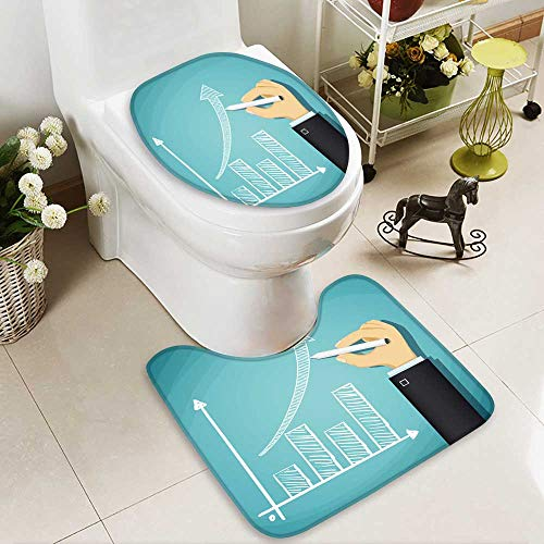 Rug Chart Growth (Analisahome 2 Piece Bathroom Contour Rugs human hand drawn growth chart success in business cartoon illustration Non Slip Comfortable Snd Soft)