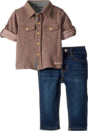 Hudson Kids Baby Boy's Two-Piece Button Down Shirt w/Knit Denim Pants Set (Infant) Ink Wash 12 - Classic Terry Pant French Fit