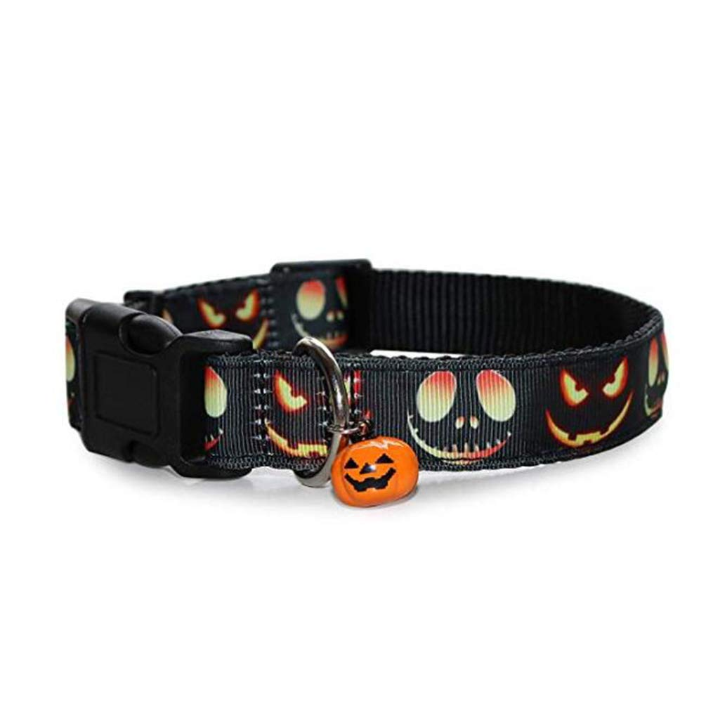 Size L POPETPOP Pet Halloween Pumkin Printed Collar with Pulling Rope Adjustable Halloween Dog Necklace with Bell and Pumkin Traction Strap Pet Costumes