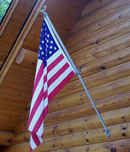 American Flag with Wall Mount Pole | 3'x5' US Flag | Mounting Hardware | Tangle & Wrap Proof | Gold Eagle on Top
