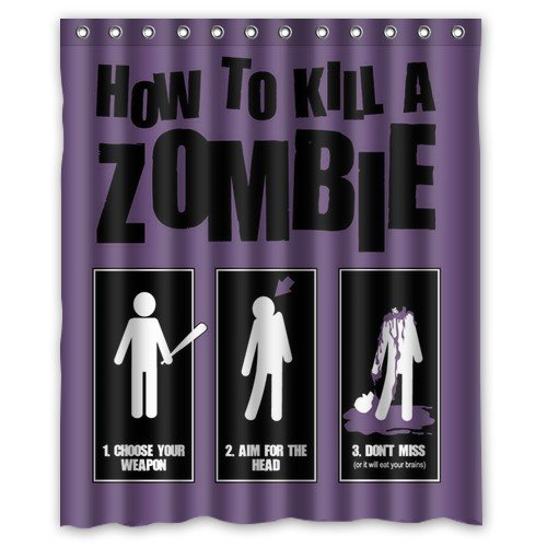 Shower Curtain Eco-Friendly Waterproof Funny Zombie Cat/Zombie Santa Claus/How to Kill A Zombie? Bathroom Polyester Fabric 60(w) x72(h) Inch