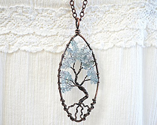 Raw Aquamarine Tree of Life Necklace Wirewrapped Blue Gemstone Pendant Bonsai Tree Family Tree birthstone for March Oxidized Copper Chain Original gift Handmade and Crafted by ()