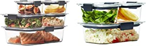 Rubbermaid Brilliance Leak-Proof Food Storage Containers with Airtight Lids, Set of 5 (10 Pieces Total) & Brilliance Leak-Proof Food Storage Containers with Airtight Lids, Set of 3 (6 Pieces Total)