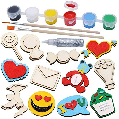 12 Valentines Day Craft Art for Kids with Wooden Magnet Creativity Arts & Crafts Painting KitBirthday Parties and Family Crafts, Easter Basket Stuffers.