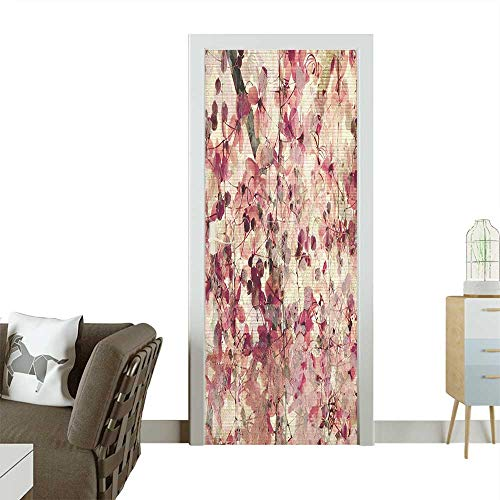 (Door Sticker Wall Decals Grungy Effect Cherry Blossoms on Ribbed Bamboo Retro Background Floral Art Work Pink Easy to Peel and StickW23.6 x H78.7 INCH)