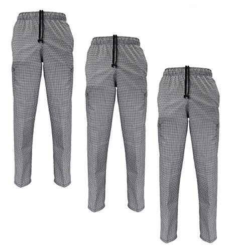 Natural Uniforms Classic Chef Pants (X-Large, 3 Pack Houndstooth)