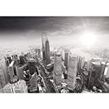 Non-woven Photographic Wallpaper 200 x 140 cm PREMIUM PLUS SHANGHAI Wall Mural Photo Wallpaper – Black & White Shanghai Sunset Skyline – Skyline Skyscraper High-Rise Buildings – No. 049