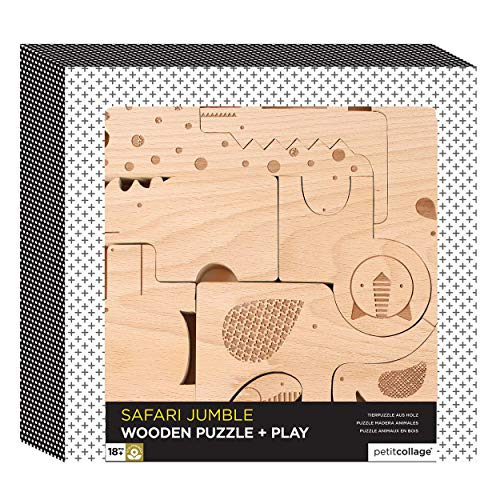 Petit Collage Wooden Puzzle Plus Play, Safari -