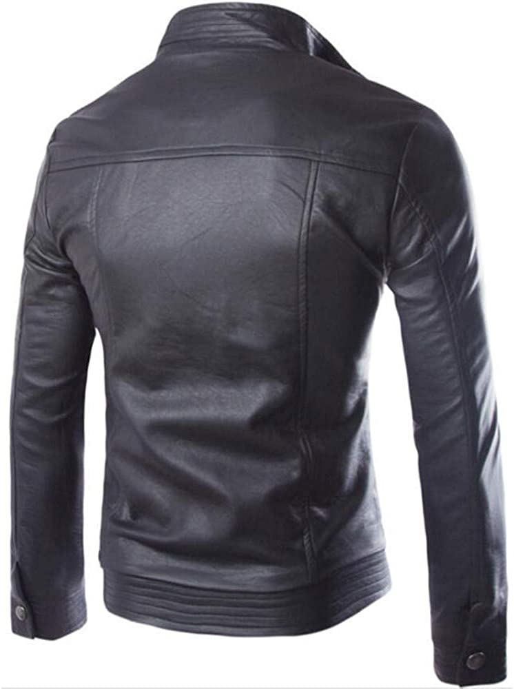 Jackets for Men.Mens Autumn Winter Casual Long Sleeve Solid Stand Zipper Leather Jacket Top