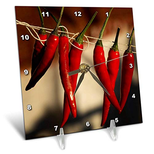 3dRose Alexis Photography - Food Chili Pepper - Red Chili Peppers Hangs on a Rope in a Row - 6x6 Desk Clock (dc_292855_1) (Best Chili In Dc)