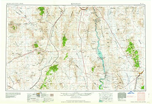 Kingman AZ topo map, 1:250000 scale, 1 X 2 Degree, Historical, 1960, updated 1960, 22 x 32 IN - - Laughlin Jim