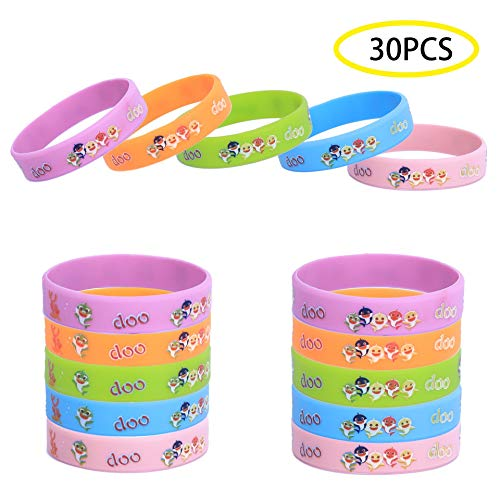 (30PCS MZYARD Cute Shark Silicone Wristbands Bracelets Baby Kids Birthday Party Supplies Favors, Kids Size )
