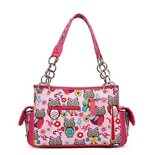 Bag Satchel Owl Handbag Over All Handle Fuchsia Top Print Colorful xRUfF0qU