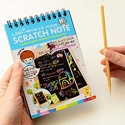 Sunshay 1Pcs Kids DIY Scratch Art Notebook,Rainbow Mini Notes,Learning Drawing Educational Toys Cartoon Magic Pad Coloring Sketch Book (Random Colors): Toys & Games