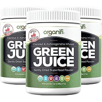 Organifi - Green Juice Super Food Supplement (270g) 30 Day Supply. USDA Organic Vegan Greens Powder by Organifi (3 Jar Value Pack)