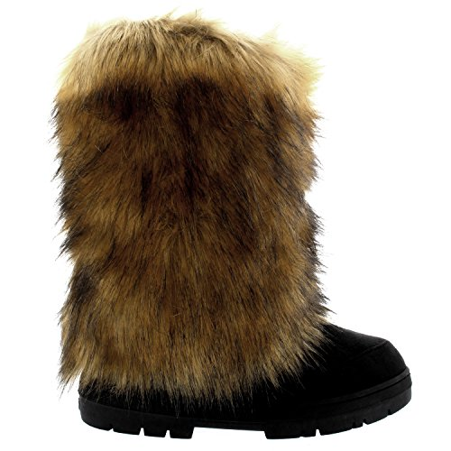 Holly Womens Eskimo Big Rabbit Fur Covered Winter Fur Lined Long Winter Boots Black HYZXkCf