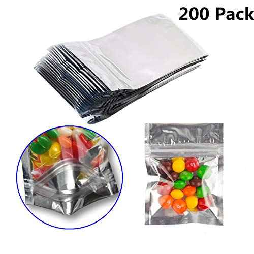 200 Pack Resealable Mylar Bags Smell Proof Pouch Aluminum Foil Packaging Plastic Ziplock Bag,Small Mylar Storage Bags For Bulk Candy,Cookies,Snack Food,Jewelry,3x4 inch(Clear Silver)