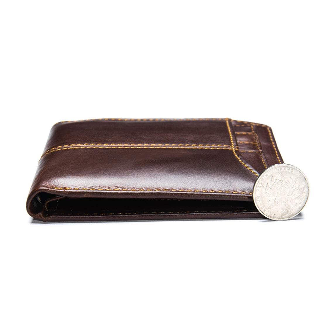 SaoLangtame Real Leather Mens Oil Wax Retro Capacity Multi Card Bit Slim Wallet Clutch