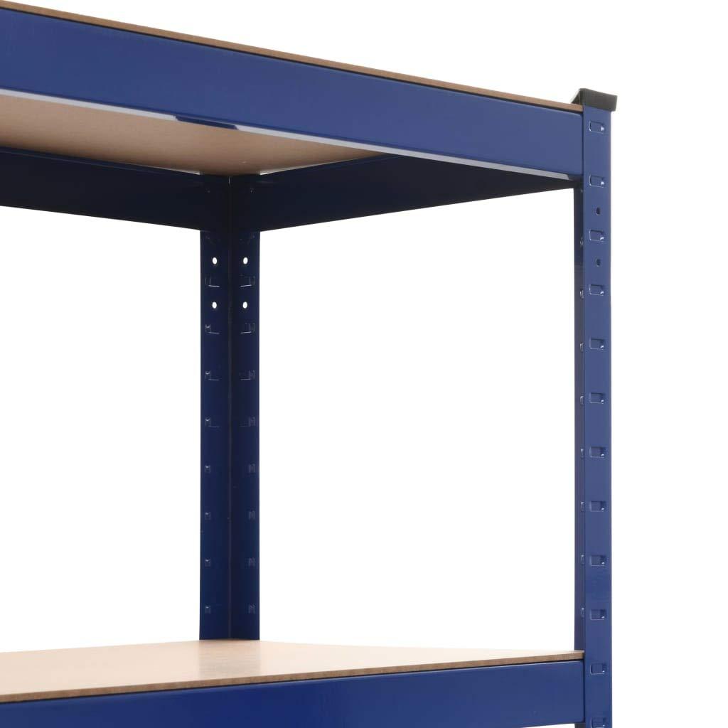 vidaXL 2X Estanter/ía de Acero y MDF Almacenamiento Orden Econom/ía Industrial Complemento Cocina Despensa Cuarto de Lavadora Garaje 80x40x180 cm Azul