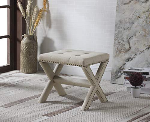 Best Master Furniture 621 Sasha Linen Blend Small Accent Bench with Nailhead Trim - Beige,