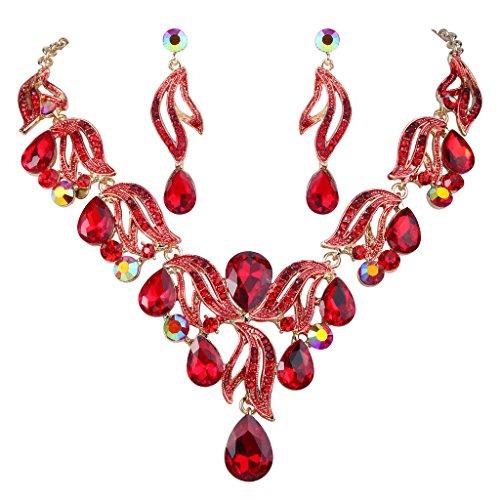 BriLove Women's Bohemian Boho Bridal Crystal Flower Teardrop Enamel Statement Necklace Dangle Earrings Set Gold-Toned Ruby Color