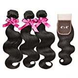 """Queen by Ali 100% Virgin Human Hair Unprocessed Brazilian Bundle Hair Weave Natural Body Wave 6A 3Bundles With 4x4 Hand-Tied Lace Free Parting Closure (Natural Color) (16"""" 18"""" 20"""" + 14"""") offers"""