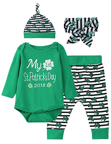 St Patricks Day Baby Clothes (Little Fancy 4PCS ST Patrick's Day Outift Set Baby Boys Girls Shirt Pants With Hat and Headband (6-12 Months))