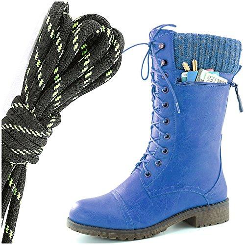 Dailyshoes Womens Combat Stijl Lace Up Enkellaarsje Ronde Neus Militaire Knit Creditcard Mes Geld Portemonnee Pocket Laarzen, Zwart Lime Blauw Pu