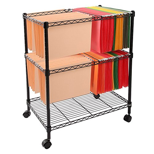 MOONBUY 2-Tier Mobile Metal Rolling File Cart, Sturdy Portable File Cart for Letter and Legal Size Folder Home Office with 4 Rolling Wheels