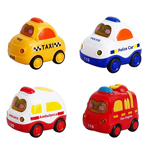 Mallya Emergency Toy Cars for Toddler boy Music and Light Mini Official Vehicles Toy Set for 1 2 3 Year Old Baby Cars Toys(4 Set) ()