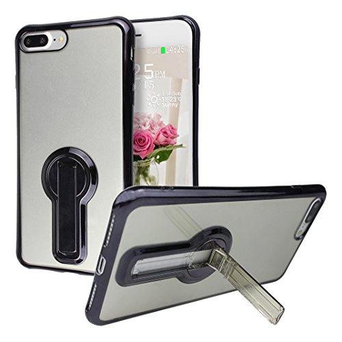 Funda iPhone 7 Silicona, Rosa Schleife Ultra delgado Cubierta de la caja del silicón de TPU Caso Carcasa cubrir con diseño de chapado de la contraportada Función de Soporte Funda de Móvil para el iPho Edge Plating - Negro