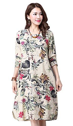 Vogue of Eden Women's Casual Flower Pattern Round Neck Mid-Long Shift Linen Dress, Beige, L - Eden Junior Bridesmaid Dress