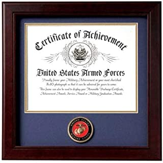 product image for flag connections US Marine Corps Certificate of Achievement Picture Frame with Medallion - 8 x 10 Inch Opening