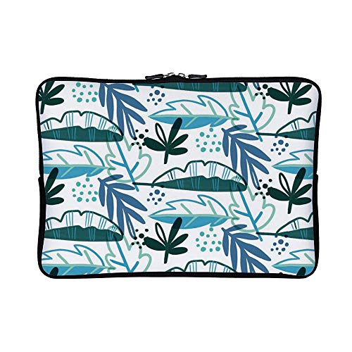 DKISEE Abstract Blue Tropical Pattern with Leaves (2) Neoprene Laptop Sleeve Case Waterproof Sleeve Case Cover Bag for MacBook/Notebook/Ultrabook/Chromebooks