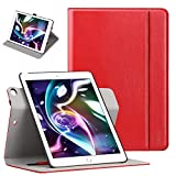 Ztotop Case for iPad 9.7 inch 2017/2018,[360 Degree Rotating/Genuine Leather] with Auto Wake/Sleep, Pencil Holder, Hand Strap for New iPad Education, iPad 9.7 2017, iPad Air 2, Red