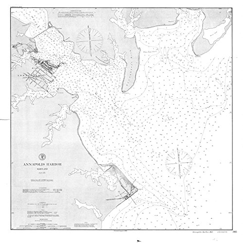 18 x 24 Canvas 1869 US old nautical map drawing chart of Annapolis Harbor From US Coast & Geodetic Survey x2875