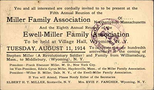 Miller Family and Ewell-Miller Family Reunion Invitation, 1914 Original Vintage Postcard -