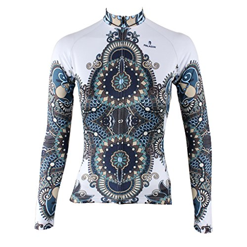 QinYing Women Patterns Stylish Breathable Bicycle Jersey Long Sleeve White M (Bicycle Jersey Beer compare prices)