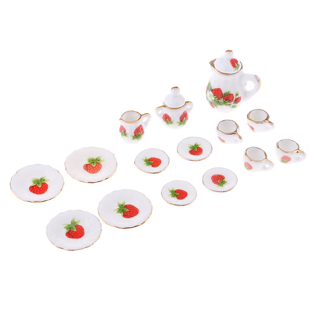 15pc Dollhouse Miniature Dining Ware Tea Set White with Strawberry Generic