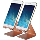 Honsky GEN-2 Universal Aluminum Cell Phone Tablet Desk Charging Stand Portable Hands Free Desktop Display Holder, Compatible iPhone iPad Mini LG Samsung Android Cellphone, 2 Sets, Rose Gold