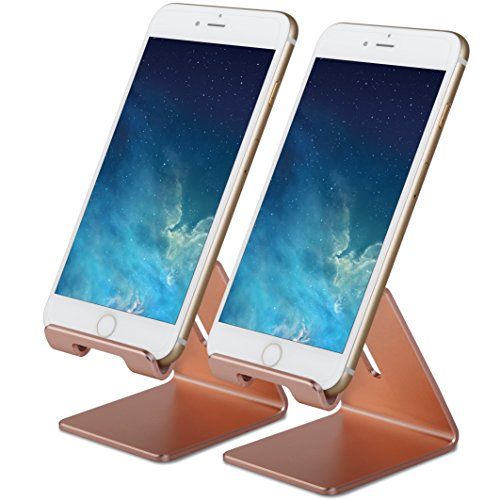 al Aluminum Cell Phone Tablet Desk Charging Stand Portable Hands Free Desktop Display Holder, Compatible with iPhone iPad Mini LG Samsung Android Cellphone, 2 Sets, Rose Gold ()