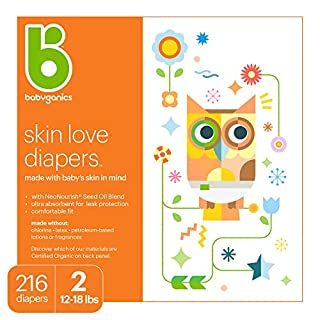 Babyganics Diapers, Size 2, 216 ct, Babyganics Ultra Absorbent Diapers, Packaging May Vary