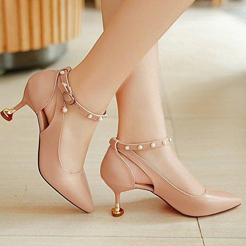 Xue Qiqi Sandalias Zapatos Singles Femeninos Zapatos con Zapatos Finos Puntos de Amarre ranurada con Zapatos de Mujer. Caqui
